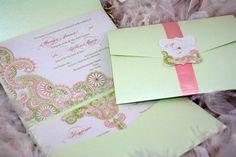 Henna Paisley Spring Wedding Invitation. $7.50, via Etsy.