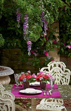 Create this beautiful look for your outdoor dinner parties and much more with silk flowers from Bloom.
