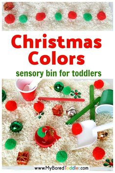 Christmas colors toddler activity with rice sensory bin - an easy toddler sensory bin idea for Christmas using rice and pom poms. Christmas Crafts For Toddlers, Toddler Christmas, Easy Christmas Crafts, Christmas Books, Toddler Crafts, Simple Christmas, Christmas Themes, Christmas 2019, Christmas Toddler Activities