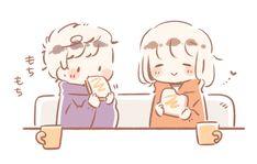 いつきゆう (@itsukiyu) / Twitter Chibi Couple, Loli Kawaii, Cute Anime Chibi, Cute Art Styles, Bts Aesthetic Pictures, Cute Anime Couples, Cute Illustration, Easy Drawings, Doodle Art