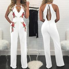 Floral Printed Halter Cutout Back Sleeveless Jumpsuit Cute Teen Outfits, Teen Fashion Outfits, Outfits For Teens, Pretty Outfits, Summer Outfits, White Fashion, Denim Fashion, Romper With Skirt, One Piece Outfit