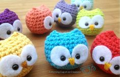 Day 31:  Amigurumi Animal of the Day Baby Owl Ornaments by Josephine Wu  Free Pattern: http://www.ravelry.com/patterns/library/baby-owl-ornaments  May 2013 #TheCrochetLounge #Amigurumi #Owls Pick