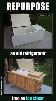 here are a couple notes on how this might work.  An old upright refrigerator was resurrected into an ice chest that would be the envy of any backyard party. Wrapped in cedar (looks like) and elevated on new legs, it is unrecognizable. Of course, since it's now an ice chest, that means it needs ice--not electricity--to keep stuff cold, which means it would need some sort of a drain hole. visit curbly.com for more.