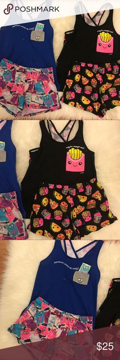 Justice Junk Food & Pop Tart Pajama Sets 8 Justice Pajama Set Bundle. Junk Food Tank & Shorts Set. 8. Pop Tarts Tank & Shorts Set. 8. Both tanks have back slit. Both are in good condition. Some piling. The PopTart Top does have a small white mark that looks like paint. As shown in photo above. No trades. Bundle for discount. Justice Pajamas Pajama Sets