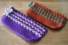 Crocheted pencil bag