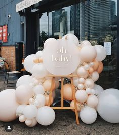 Balloons and welcome sign - - stunning! Balloons and welcome sign - - 842384305284372784 OH BABY. Loving this neutral blush and grey colour combo 💕 Lovely working with you Stephanie! Balloons Props and… Gold royal baby blue white baby prince crown bap Deco Baby Shower, Baby Shower Balloons, Shower Party, Baby Shower Parties, Baby Shower Themes, Baby Boy Shower, Baby Shower Balloon Decorations, Gender Reveal Decorations, Baby Showers