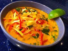 Vegan Thai Red Curry Noodle Soup via The Kitchen Operas