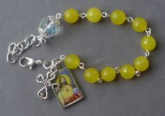 Sacred Heart - 8mm Yellow Jade Gemstone One Decade Rosary Bracelet by JaysReligiousGifts on Etsy