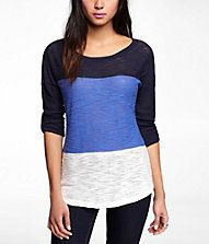 COLOR BLOCK ROLLED SLEEVE TUNIC SWEATER