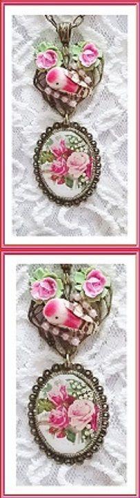 """collier retour du printemps """"l'oiseau fait son nid dans le jardin"""" en rouge, rose et vert ❄ 35 € ❄ Métal couleur bronze, Résine ❄ B393 ❄ #GabyFéerie #BijouxFaitMainenFrance #IdéeCadeau #collier #oiseau #fleurs #saintvalentin #romantique #legendearthurienne ❄  recherche avancée à l'aide du titre et des critères choisis:"""
