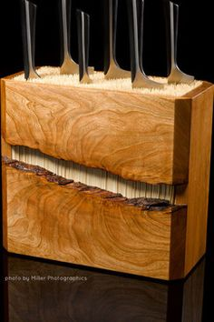 Cherry and Bamboo Knife Block - modern - knives and chopping boards - denver - Where Wood Meets Steel - Just beautiful...wonder how well it works.