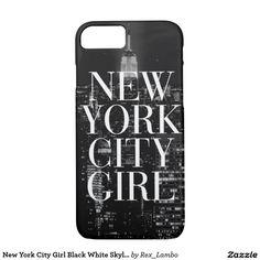 New York City Girl Black White Skyline Typography
