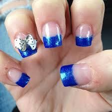blue acrylic nail art