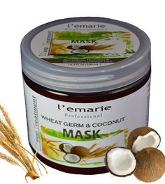 Wheat Germ & Coconut Mask Deep Treatment with Argan Oil 500ml by L'emarie. $12.49. Coconut oil is rich in fatty acids, which nourish and moisturize the scalp and hair.. Argan Oil:Organic Moroccan Virgin Argan Oil First Cold-Pressed. Argan oil hydrates the hair in a natural way.. Revitalizes, Hydrates and Nourishes damage hair.. Wheat germ oil is EXCELLENT for hair growth.. Wheat Germ & Coconut Mask Deep Treatment 500ml Revitalizes, Hydrates and Nourishes damag...