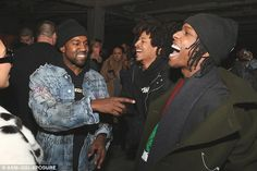 Oh how we laughed: The rapper turned designer seemed to be having a blast with ASAP Rocky, who recently did a collaboration with Guess