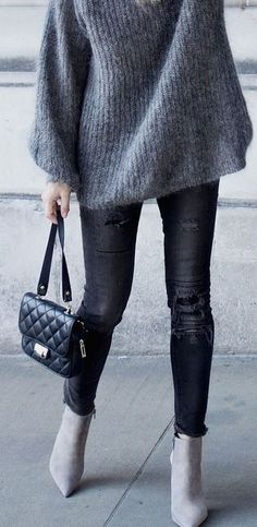 Awesome 40 Awesome Winter Outfits Ideas With Ankle Boots. More at https://wear4trend.com/2018/01/22/40-awesome-winter-outfits-ideas-ankle-boots/