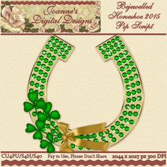 Bejewelled Horseshoe 2015 PspScript $6.00 - 65% off all this month! :) The script ends in layers and has been tested in Psp 9 through X7. No plug-ins required. The finished image measures 2044x2027px at 300 dpi. CU4PU/S4H/S4O  Also available as a Photoshop layered template http://www.joannes-digital-designs.com/bejewelled-horseshoe-2015-pspscript-p-2777.html