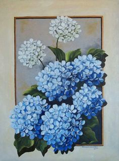 for my mom - Painting Tole Painting, Fabric Painting, Oil Painting On Canvas, Watercolor Paintings, Canvas Art, Art Floral, Pinterest Arte, Hydrangea Painting, Acrylic Flowers