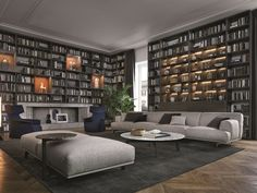 Sectional wooden bookcase | poliform