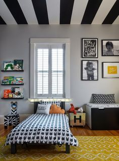 Kid's Room Ideas: A little boy's room filled with patterns, stripes, and a painted ceiling.