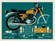 Broken Motorcycle Screen Print Variant. $25.00, via Etsy.