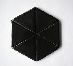 Black hexagon tile. Black Hexagon Tile, Hexagon Tiles, Garden Pots, Wall Tiles, Barware, Handmade, Inspiration, Room Tiles, Biblical Inspiration