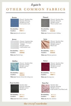 Find out what types of other common fabrics are used in fashion design and how to choose the right ones for your concept wardrobe. Fashion Terminology, Fashion Terms, Sewing Basics, Sewing Hacks, Fashion Fabric, Diy Fashion, Fashion Guide, Fabric Patterns, Sewing Patterns