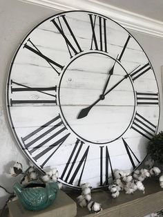 Our newest, giant, clean farmhouse style clock. I love these so much! ♥️♥️