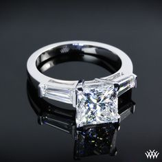 27 best Bague images on Pinterest   Rings  Diamond engagement ring     Custom Diamond Engagement Ring with Baguettes