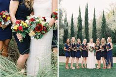 A Midnight #Dessy wedding brightened with vibrant bouquets!