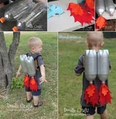 In need of a jetpack for your Halloween costume? Take a look at this DIY! Crafts For Boys, Diy For Kids, Fun Crafts, Recycled Bottles, Recycle Plastic Bottles, Diy Rocket, Rocket Craft, Rockets For Kids, Silver Spray Paint