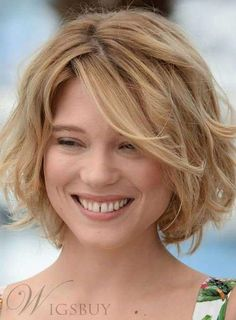 #WigsBuy - #WigsBuy Fashion Fluffy Short Bob Hairstyle 100% Human Hair Wavy Lace Front Wig 10 Inches - AdoreWe.com