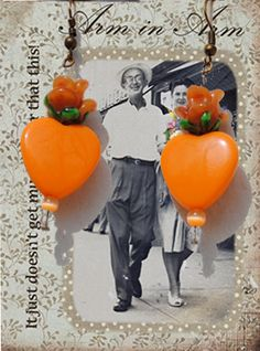Orange Hearts and Flowers Earrings  A by RescuedOfferings on Etsy