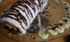 Banánová roláda s tvarohovou plnkou a nutellou