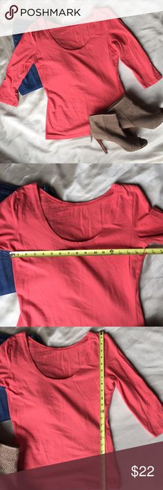 Boston Proper Reversible top Gorgeous coral Boston Proper top is soft, sexy and reversible. Can be worn as a scoop neck or jewel neck top. Comfy, stretchy and beautiful color. Looks great layered for winter. Would keep but its not a good color for me. Worn once, has been folded in my closet and is begging to be worn. See photos for measurements. Boston Proper Tops Tees - Long Sleeve
