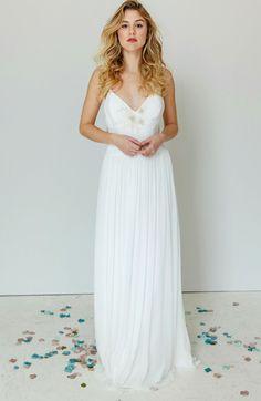 Phoebe fabulous destination wedding dress with an ultra low back. Bohemian Style Wedding Dresses, Designer Wedding Dresses, London Wedding, French Lace, Destination Wedding, Gowns, Formal Dresses, Fashion, Vestidos