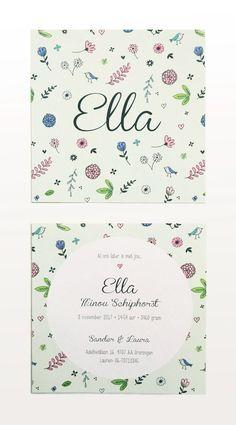 Kikker & Prins - Ella geboortekaartje #geboortekaartje #meisje #geboortekaartjes #Ella #natuur #illustraties #patroon #bloempjes #bloemetjes #blaadjes #groen #patroon #baby #babyopkomst #kindjeopkomst #tekening #vogeltjes #geboren  Het is mogelijk om een variant van dit kaartje te bestellen voor jouw kindje. Het Ella geboortekaartje wordt dan gebruikt als basis.