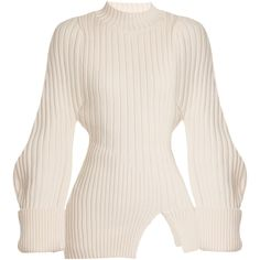 Jacquemus La Maille Pablo ribbed-knit wool sweater ($570) ❤ liked on Polyvore featuring tops, sweaters, cream, high neck top, roll-neck sweaters, long length sweaters, pink sweater and ribbed sweater