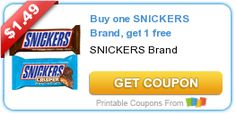 BOGO FREE Snickers Brand Bar Coupon (Save $1.49) on http://www.icravefreebies.com/