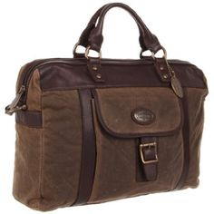 Fossil Estate Wax Canvas Top Zip MBG8272 Briefcase - designer shoes, handbags, jewelry, watches, and fashion accessories | endless.com