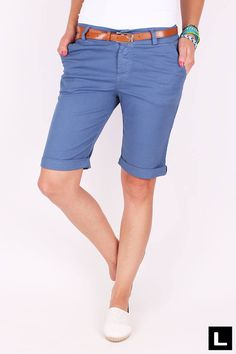Dámske šortky modré Bermuda Shorts, Women, Fashion, Moda, Fashion Styles, Fashion Illustrations, Shorts, Woman