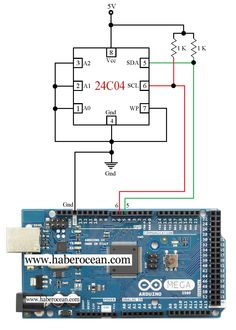 Write and Read Data to a 24C04 EEPROM Using Arduino Mega with Program  Read more at:  http://www.haberocean.com/2014/12/simple-and-working-circuit-to-control-a-24c04-eeprom-using-arduino-mega-with-program/