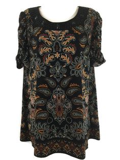 Apt. 9 L Top Paisley Print Multi Brown Beaded Scoop Neck Ruched Sleeve Blouse #Apt9 #Blouse #Casual