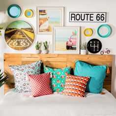 Add a little nostalgia to your decor for a colorful and casual space that inspires! Rooms Home Decor, Diy Home Decor, Bedroom Decor, Wall Decor, Bedroom Color Schemes, Bedroom Colors, Desk Inspiration, White Home Decor, Colorful Decor