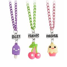 Best Firends Forever BFF Necklaces Pendant Cherry Ice Cream Cake Necklace Friendship Necklace For Children Bestfriends 3pcs/set #Affiliate