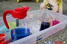 POURING STATION: a no-cost high fun toddler activity