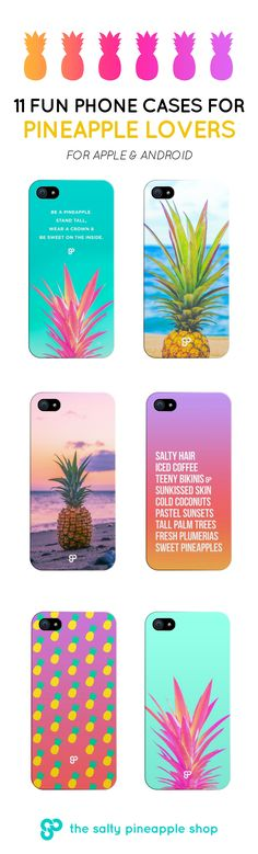 Paradise in your palm. 11 Fun Phone Cases for Pineapple Lovers >> https://shop.saltypineapple.ca/collections/all/phone-cases