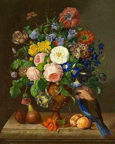 Johann Georg Seitz  Flower Piece with Bird  19th century  fruit~roses~morning glories~love...
