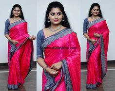 Sruthi Lakshmi dolled up for Meghana Vincent's engagement in a bright pink saree with grey border. Pink Saree, South India, India Fashion, Bright Pink, Sari, Asian, Actresses, Engagement, Grey