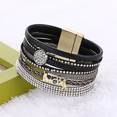 Lucky Letter Wide Magnetic Leather bracelets